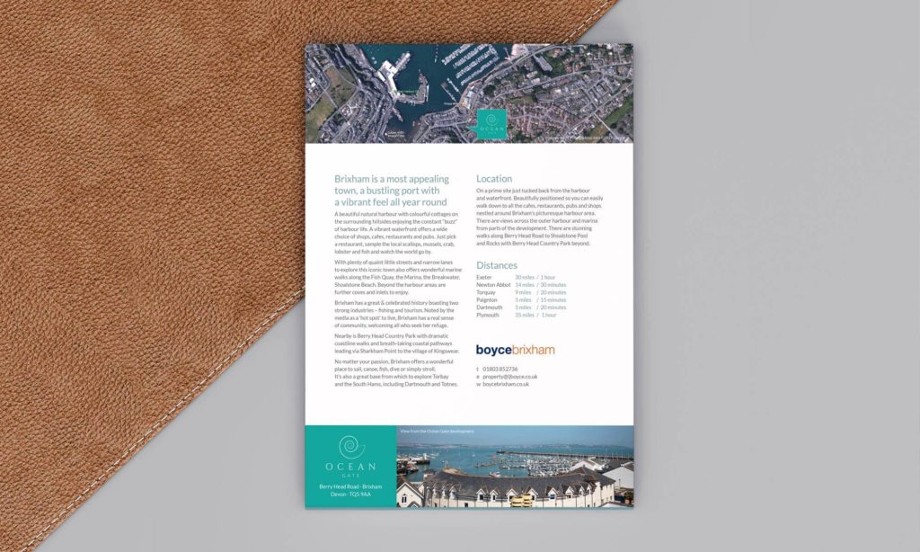 Boyce Brixham Estate Agent - Ocean Gate Development Branding - Folder Design Back