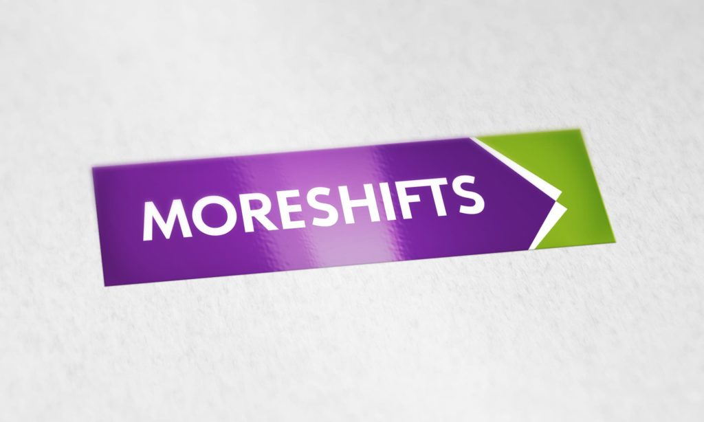 MoreShifts block Logo Design