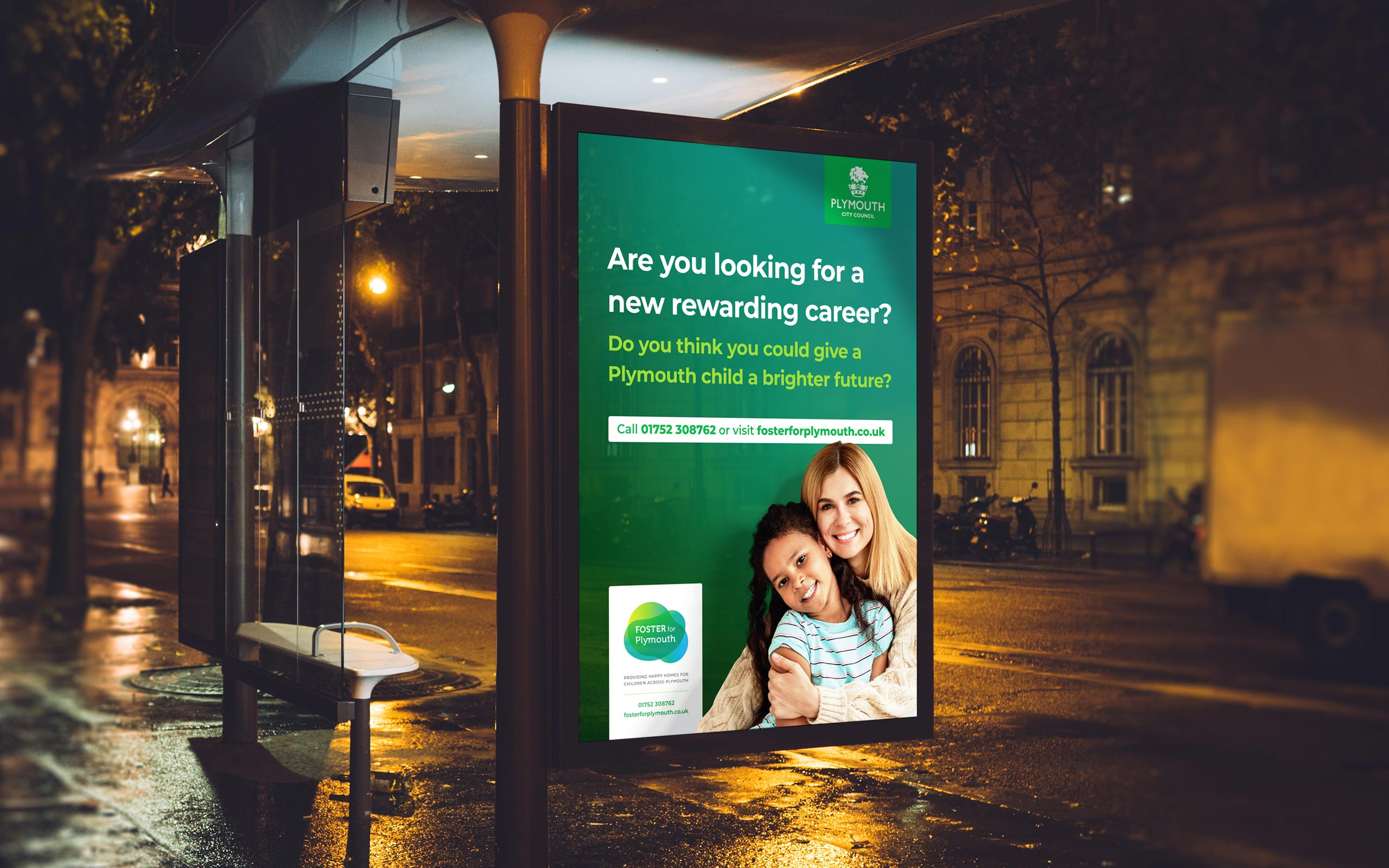 Plymouth City Council - Foster for Plymouth Branding A0 Rewarding Career Change Poster Design and Print