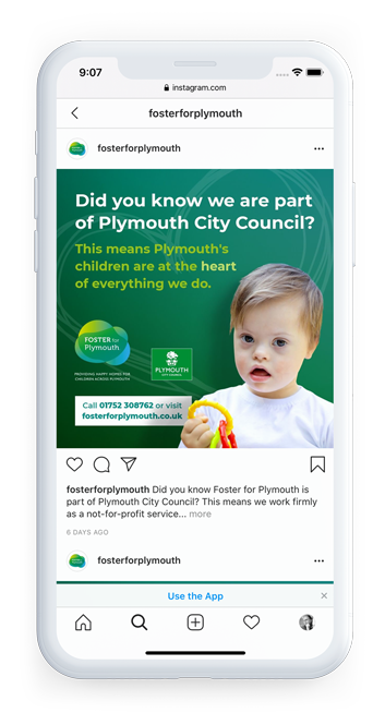 Plymouth City Council - Foster for Plymouth Branding Instagram on mobile post 1