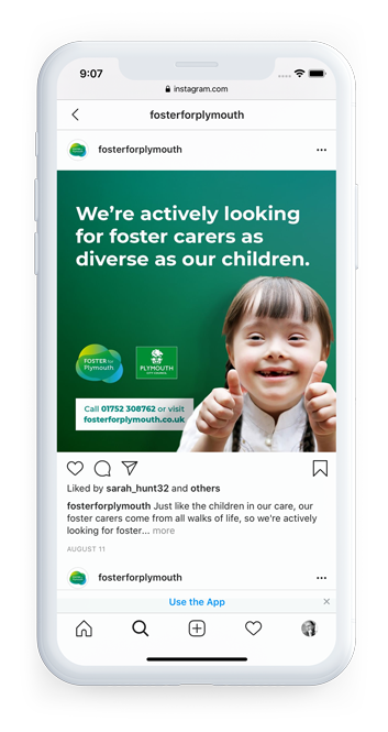 Plymouth City Council - Foster for Plymouth Branding Instagram on mobile post 2