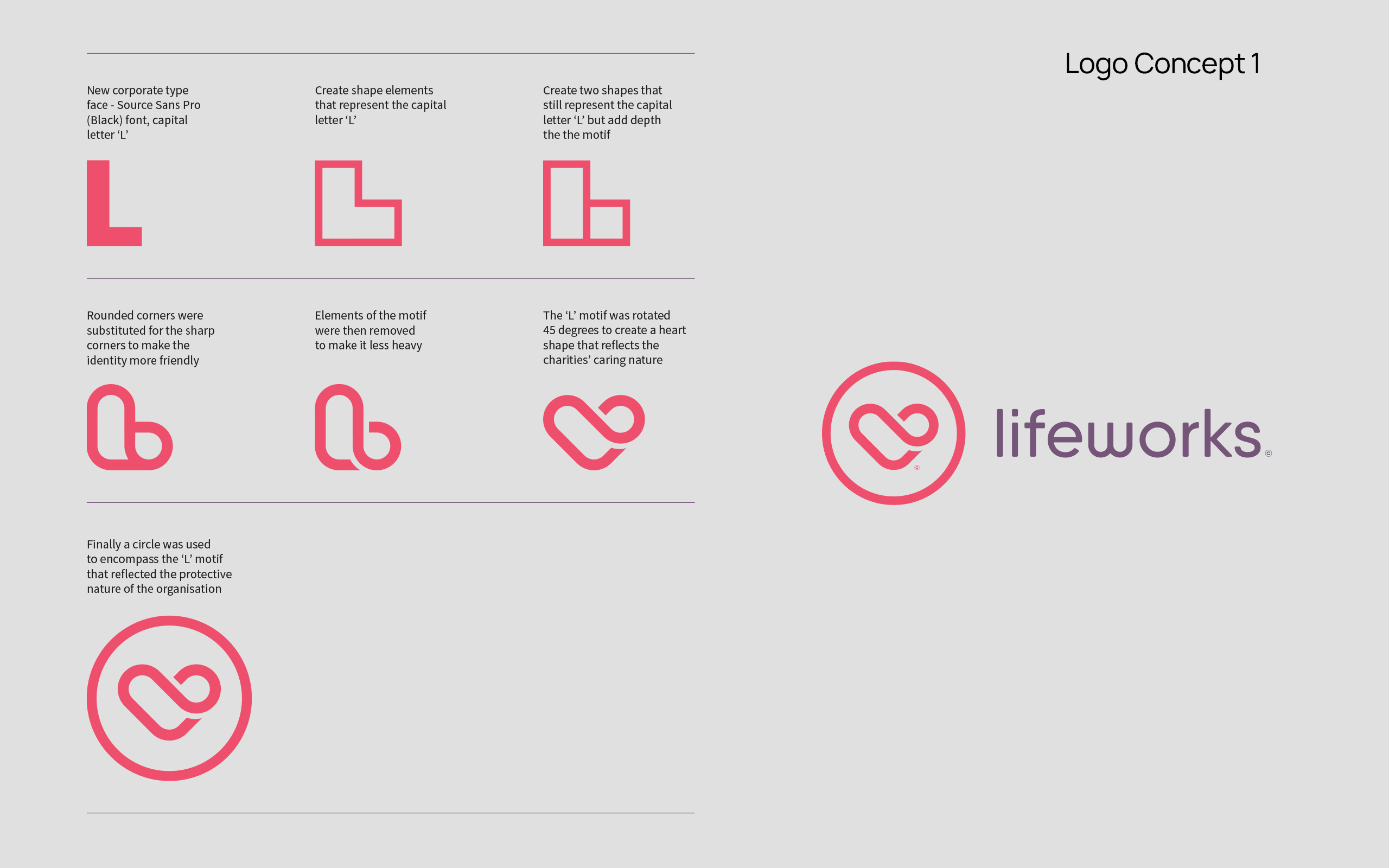 Lifeworks Charity Brand Identity Design - Brand Development Logo Design Concept 1