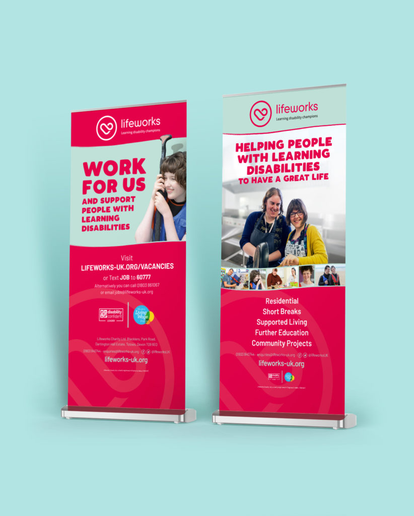 Lifeworks Charity Brand Identity Design - Roller Banner Design and Print