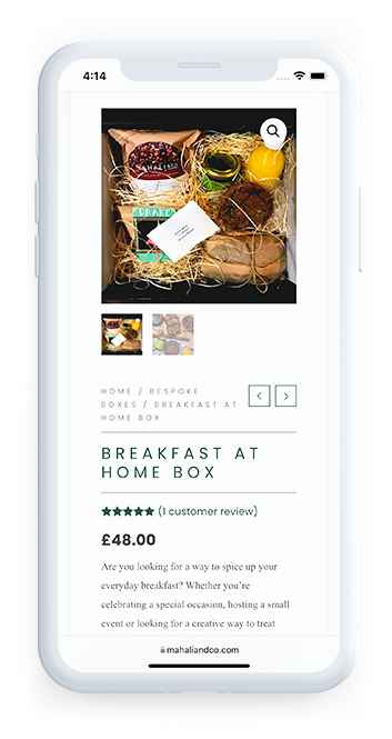 Mahali and Co Artisan Bakery London product page of website on mobile device