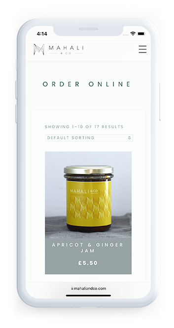 Mahali and Co Artisan Bakery London individual product page of website on mobile device