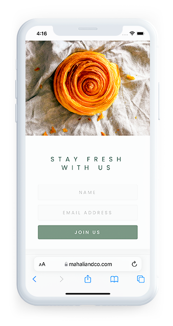 Mahali and Co Artisan Bakery London online form section of website on mobile device